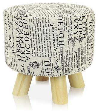 BEIGE DL furniture - Round Ottoman Foot Stool, 4 Leg Stands Round Shape   Linen Fabric, Letters Pattern Cover