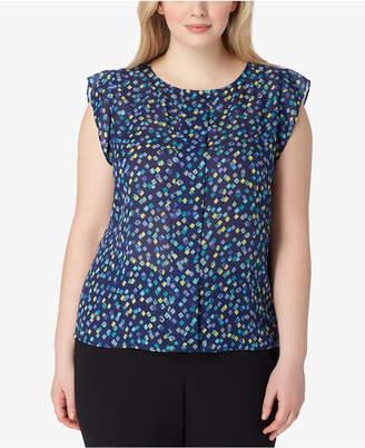 Tahari ASL Plus Size Printed Flutter-Sleeve Top