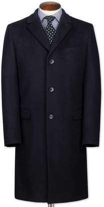 Charles Tyrwhitt Slim Fit Navy Wool and Cashmere OverWool/cashmere coat Size 44