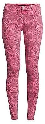 J Brand Women's 620 Mid-Rise Super Skinny Snakeskin Print Jeans