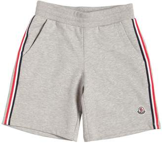 Moncler Cotton Sweat Shorts W/ Logo Side Bands