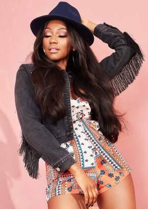 Missy Empire Missyempire Winona Black Fringed Tassel Denim Jacket