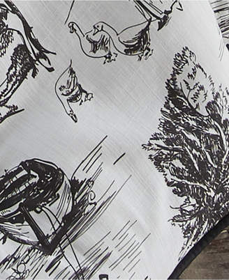 "Colcha Linens Toile Back In Black Bedskirt 15"" Drop Twin/Twin-xl Bedding"