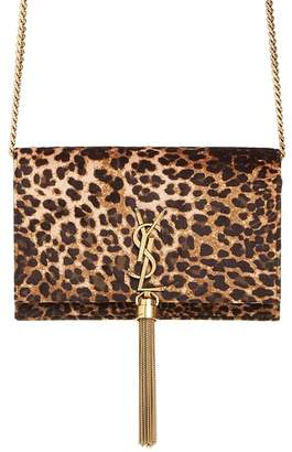 Saint Laurent Kate Leopard Print Wallet on a Chain