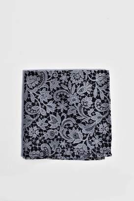 boohoo Lace Overlay Print Pocket Square