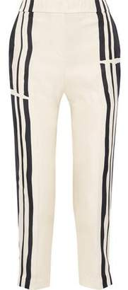 Theory Cropped Striped Silk-twill Tapered Pants