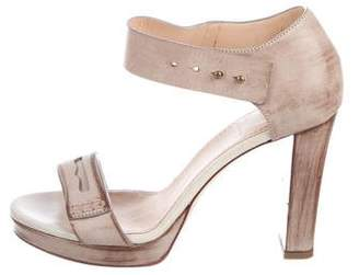 Brunello Cucinelli Leather Ankle-Strap Sandals