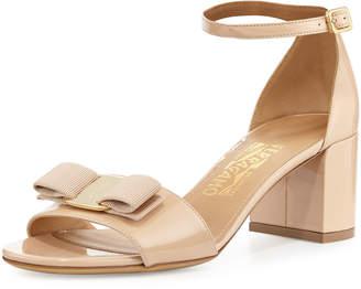 Salvatore Ferragamo Gavina Bow Patent City Sandals, Bisque