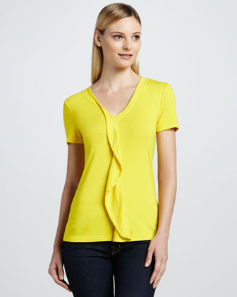 Three Dots Ruffle-Front Top