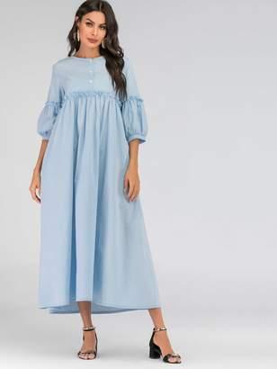 Shein Button Half Placket Bishop Sleeve Maxi Dress