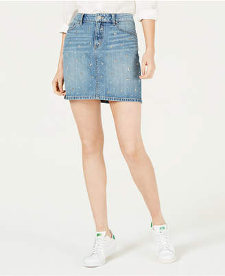 Rewash Juniors' Star-Studded Denim Skirt