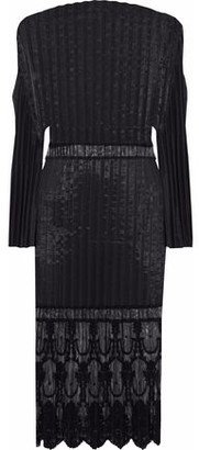 Stella McCartney Plisse-taffeta Embroidered Tulle Cotton-blend Dress