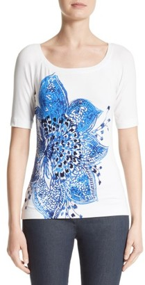 Women's St. John Collection Lotus Blossom Print Jersey Tee $295 thestylecure.com