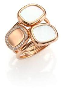 Roberto Coin Mother-Of-Pearl, Diamond& 18K Rose Gold Three-Row Ring