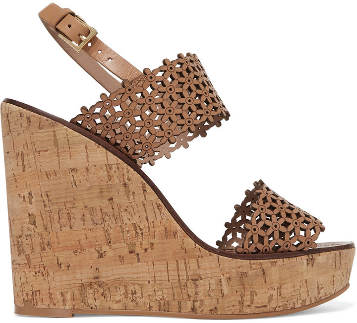 Tory Burch Tory Burch Laser-cut leather wedge sandals