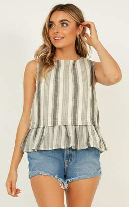 Showpo Too Many Decisions top in beige stripe - 8 (S) Sale Tops