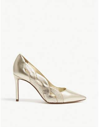 Dune Brylai metallic leather heeled courts
