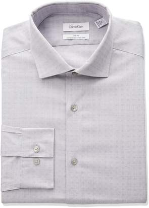 Calvin Klein Men's Non Iron Stretch Slim Fit Dobby Spread Collar Dress Shirt
