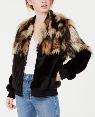 Say What Juniors' Mixed Faux-Fur Bomber Jacket