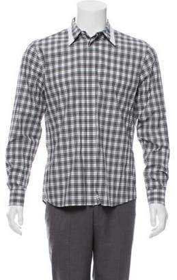 Givenchy Plaid Button-Up Shirt grey Plaid Button-Up Shirt