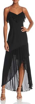 Aidan Mattox Pleated-Ruffle High/Low Dress