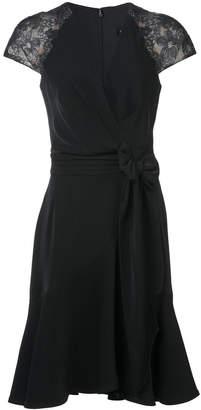 Tadashi Shoji lace sleeves wrap dress