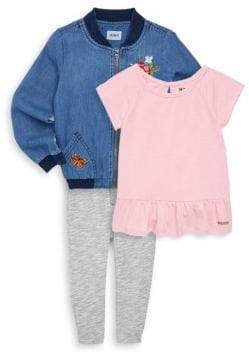 Hudson Little Girl's Three-Piece Bomber Jacket, Top & Pants Set