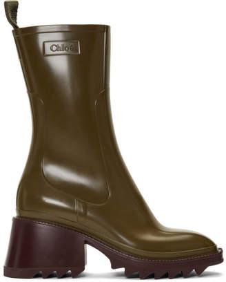 Chloé Khaki PVC Betty Rain Boots
