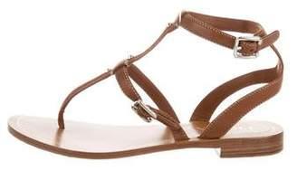 Prada Metallic T-Strap Sandals