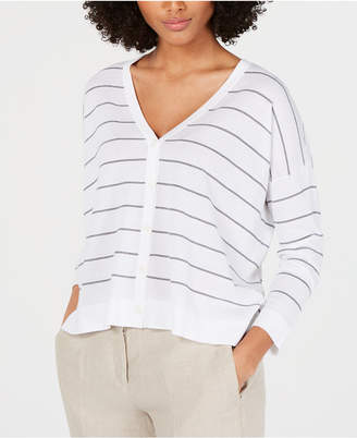 Eileen Fisher V-Neck Striped Cardigan