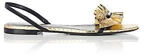 Saint Laurent Women's Nu Pieds Snakeskin & Leather Slingback Sandals - Gold