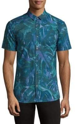 HUGO BOSS Palm-Print Grid Shirt