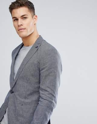 Selected Mini Check Slim Blazer In Linen Mix