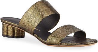 Salvatore Ferragamo Belluno Metallic Two-Band Slide Sandals