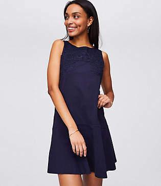 LOFT Petite Floral Lace Flippy Dress