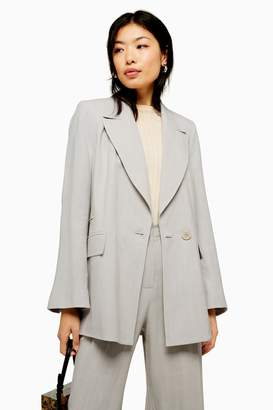 Topshop Pale Blue Slouch Blazer with Linen