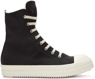 Rick Owens Drkshdw Black Nylon High-Top Sneakers $725 thestylecure.com