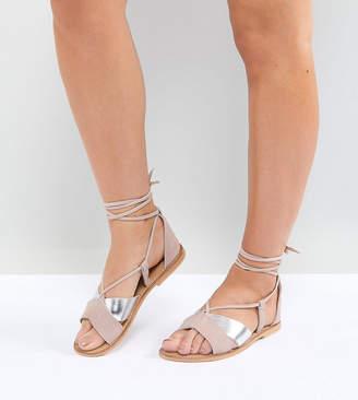 Asos DESIGN FOLLOW YOU Wide Fit Suede Tie Leg Sandals