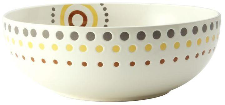 Rachael Ray Circles and Dots Stoneware 10 in. Round Serving Bowl in White