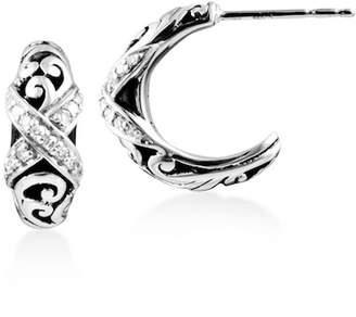 Lois Hill Sterling Silver Filigree & Pave Diamond Huggie Hoop Earrings - 0.20 ctw