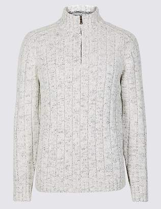 Marks and Spencer Textured Zip Neck Jumper with Wool