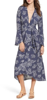 Women's Faithfull The Brand Floral Print Wrap Midi Dress $199 thestylecure.com