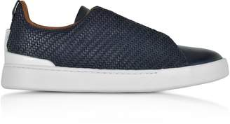 Ermenegildo Zegna Deep Blue Triple Stitch Woven Leather Low Top Sneakers