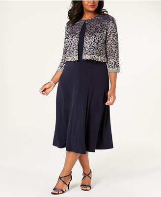 Jessica Howard Plus Size A-Line Dress & Lace Jacket