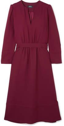 A.P.C. Belted Crepe Midi Dress - Burgundy