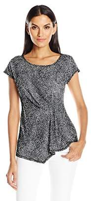 NY Collection Women's Prt Cap Extented Sleeve Knit Top
