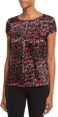 Emporio Armani Crewneck Cap-Sleeve Check-Print Silk Blouse