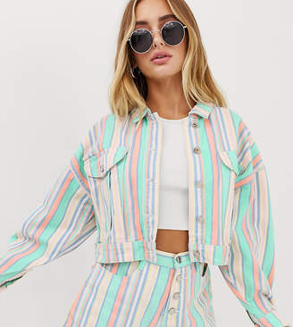 Missguided co-ord cropped oversized denim jacket in pastel stripe