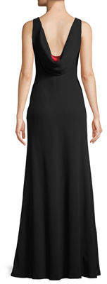 Karl Lagerfeld Paris Sleeveless Drape-Back Trumpet Gown