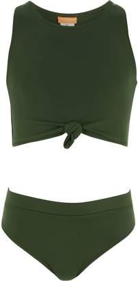 93feefba66d5b River Island Girls Khaki green knot front bikini